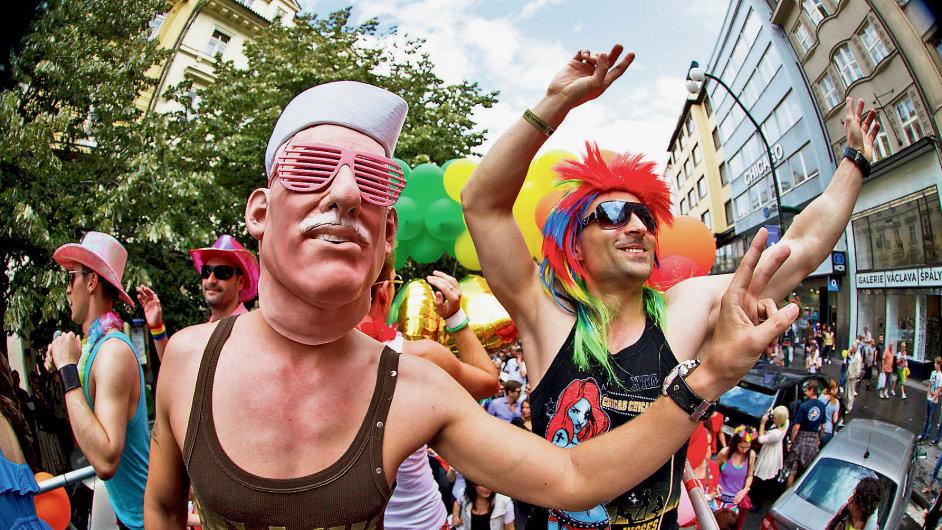 Karikatura Václava Klause na loňské Prague Pride