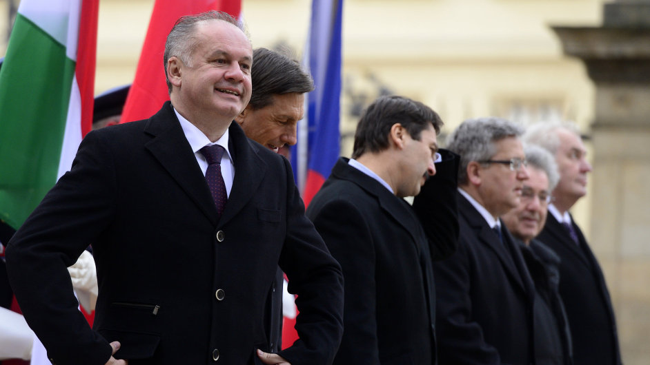 Slovenský prezident Andrej Kiska na pražském prezidentském summitu visegrádské čtyřky v prosinci 2014