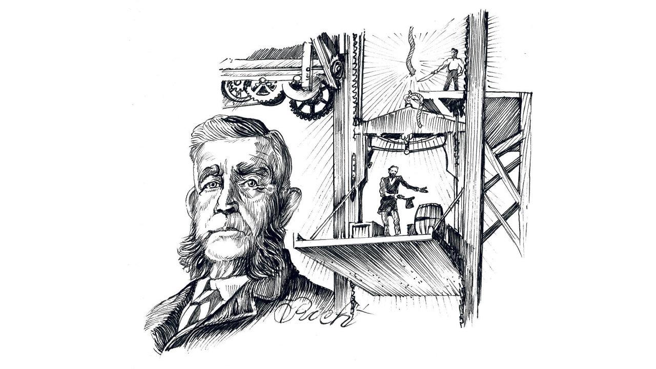 Vpátek tomu bude 166 let, co vynálezce výtahové brzdy získal první zakázku azprostředkovaně umožnil výstavbu, která velkoměsta nechala vyrůst domilionových velikostí.