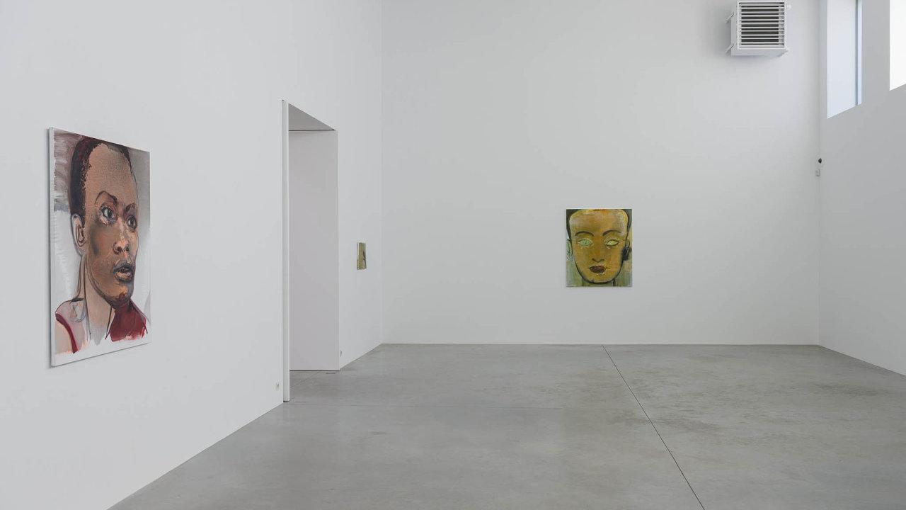 Pohled doinstalace výstavy Marlene Dumasové Double Takes anajejí obrazy.
