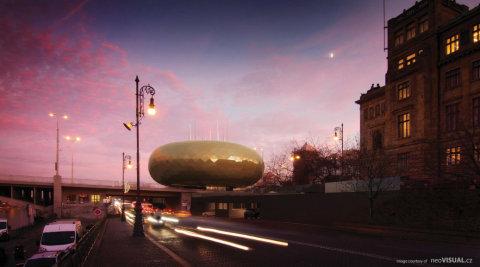 Vizualizace ukazuje původní návrh pavilonu pro Slovanskou epopej na severovýchodním konci Revoluční ulice a ústí Štefánikova mostu.