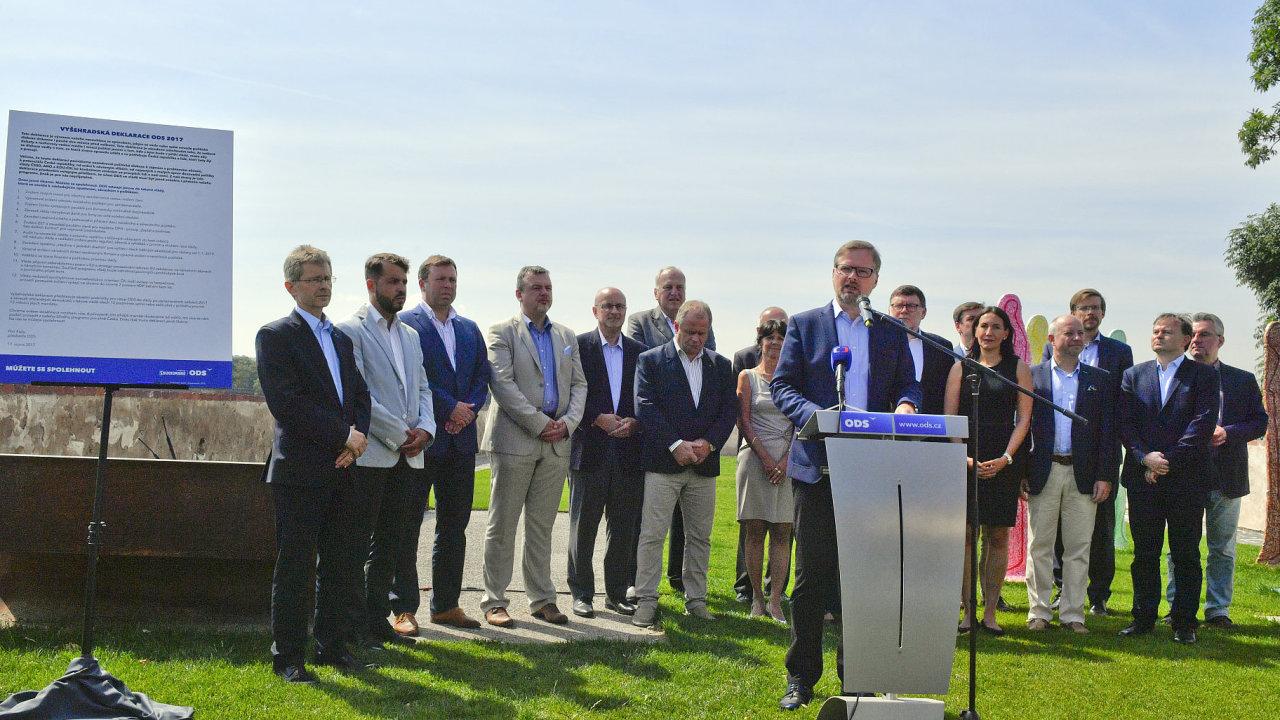 17. srpna v Praze na tiskové konferenci ODS kpředstavení tzv. Vyšehradské deklarace.