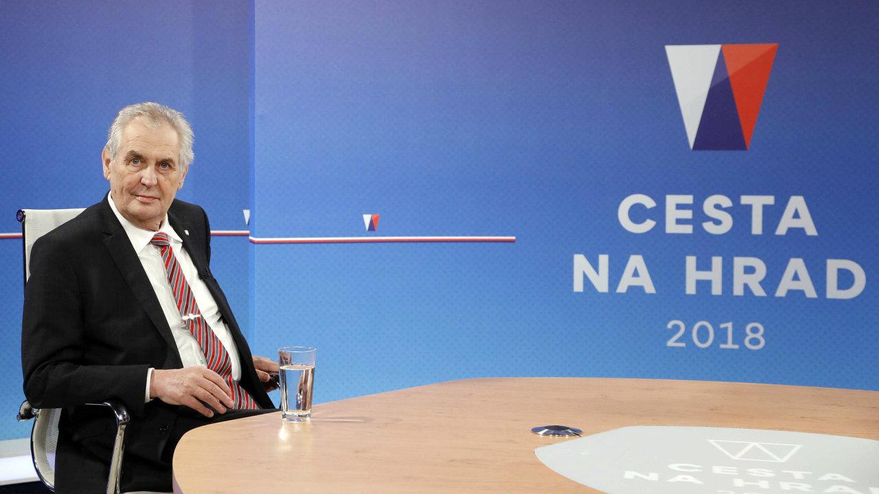 Prezident Miloš Zeman vystoupil v televizi Nova.