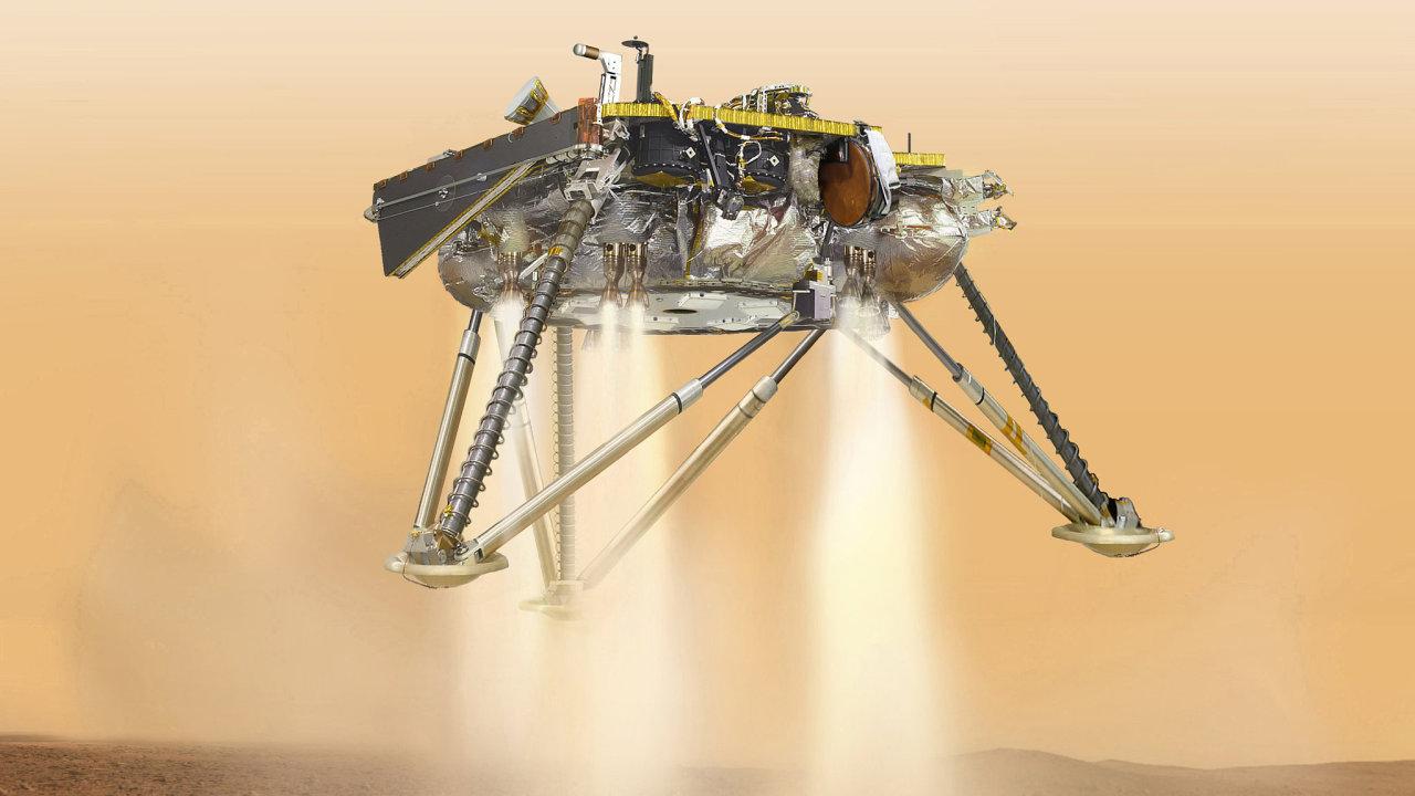 Ilustrace NASA zachycující přistání sondy InSight na Marsu.
