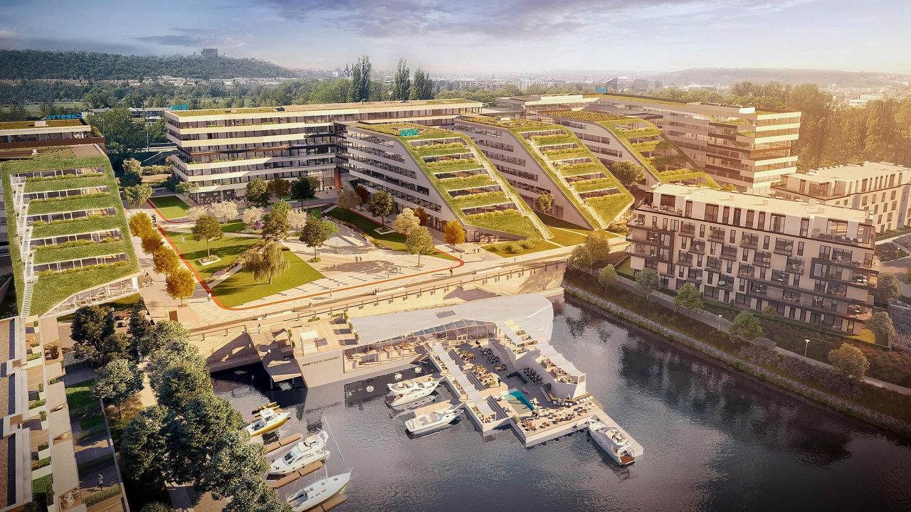 Stavba, zaníž stojí developerská společnost Crestyl, zahrnuje dvacet tisíc metrů čtverečních kanceláří atři tisíce metrů čtverečních obchodních prostor pro restaurace aslužby.