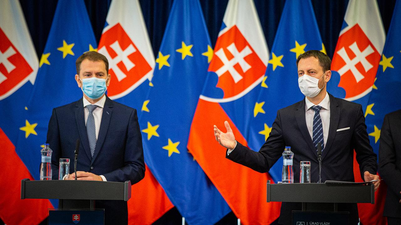 Premiér Slovenské republiky Igor Matovič a ministr financí SR Eduard Heger