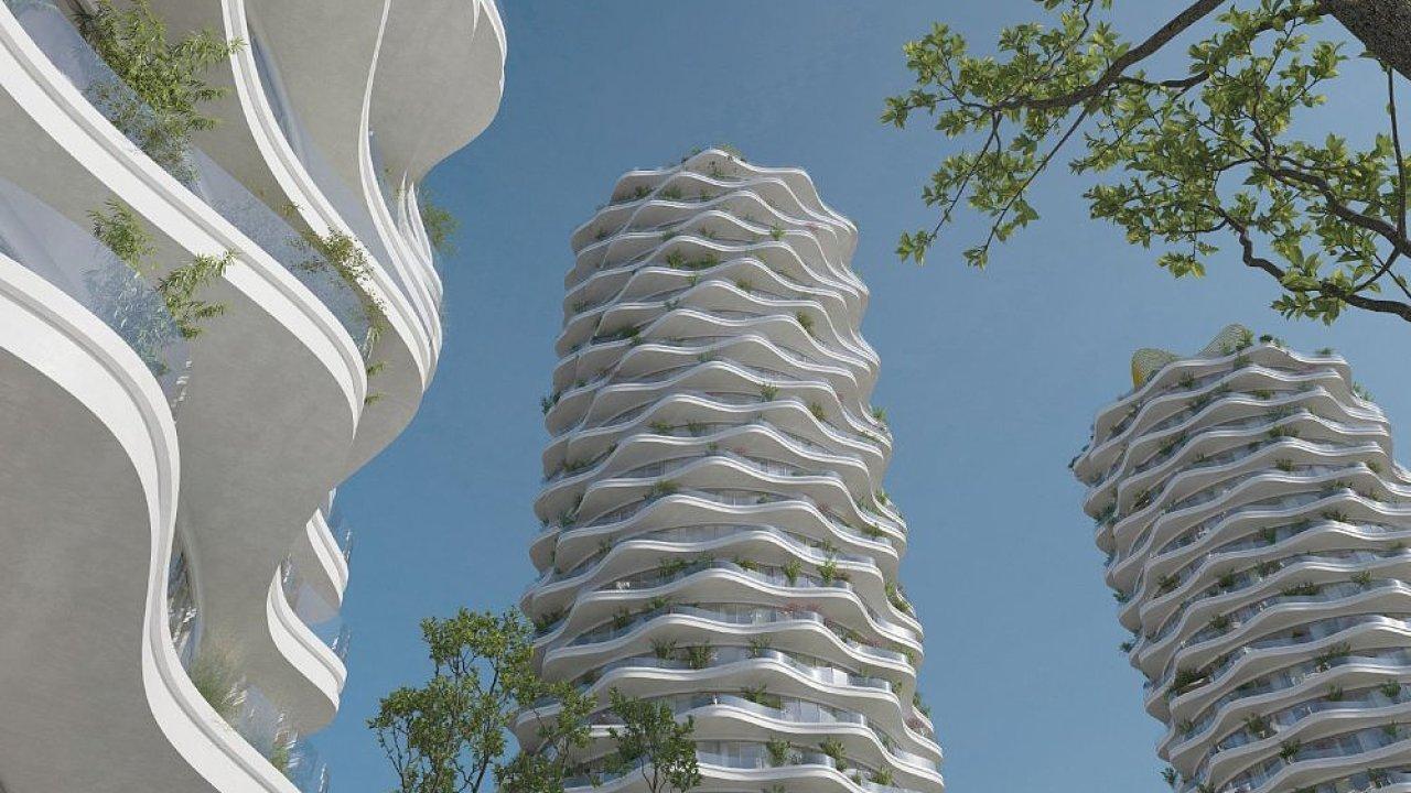 Trojice kruhových věží byla díky zvlněným balkonům a ohýbanému sklu jasnou dominantou celého návrhu Jiřičné.