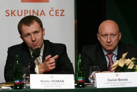 Martina Roman a Daniel Beneš - starý a nový šéf ČEZ