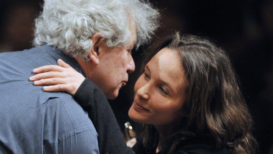 Francouzská pianistka Heléne Grimaudová s šéfdirigentem Jiřím Bělohlávkem