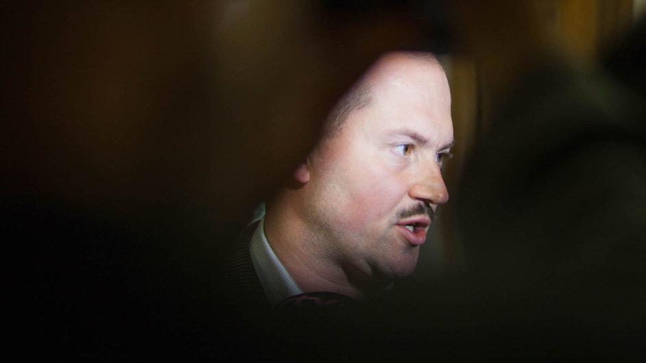 Župan Marian Kotleba po jednání krajského zastupitelstva.