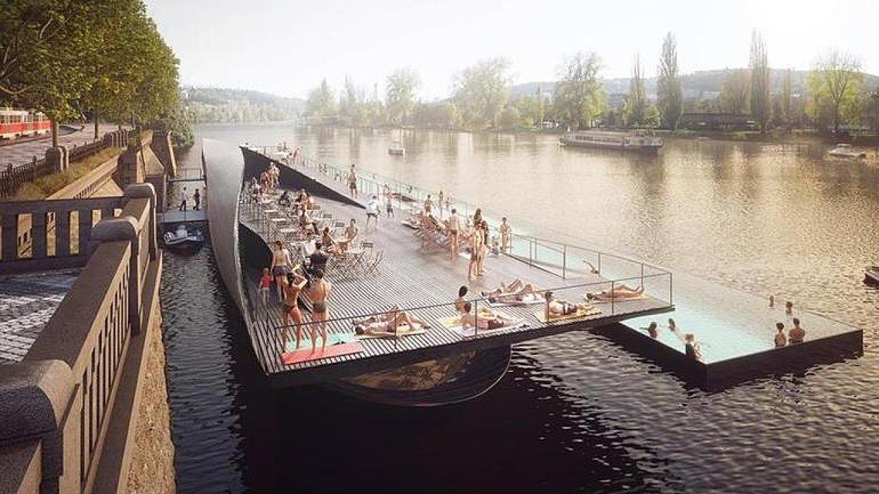 Plovoucí lázně. Na pražské náplavce bude bazén i wellness