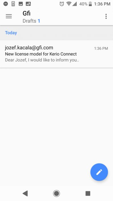 Kerio Connect Drafts mobile device