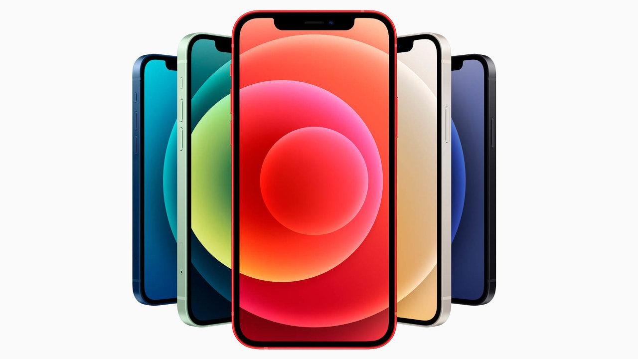 Základní model iPhonu 12 stejně jako mini verze jde natrh nejen vobligátní černé abílé barvě, ale také včervené, zelené amodré. Všechny čtyřiverze iPhonu 12 jsou nově vybaveny OLED displejem.