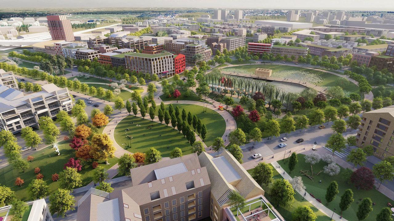 Místo továrny nová čtvrť: Odien chce na nevyužívaných pozemcích po výrobci nákladních vozů Avia postavit městskou čtvrť pro několik tisíc obyvatel. Plány zahrnují i stavbu škol nebo tramvajové trati.