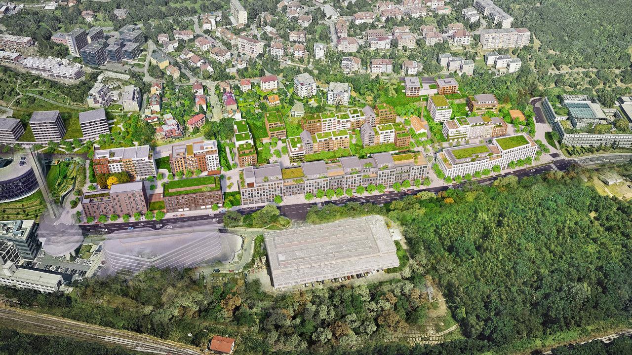 Penta bude stavět podél Radlické ulice, vjejíž těsné blízkosti se budou nacházet kancelářské budovy. Typoslouží jako stěna proti hluku, která oddělí vzdálenější byty odrušné silnice.