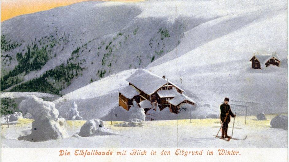 Labská bouda. Stará chata, z níž se v roce 1913 startovalo, dnes už nestojí.