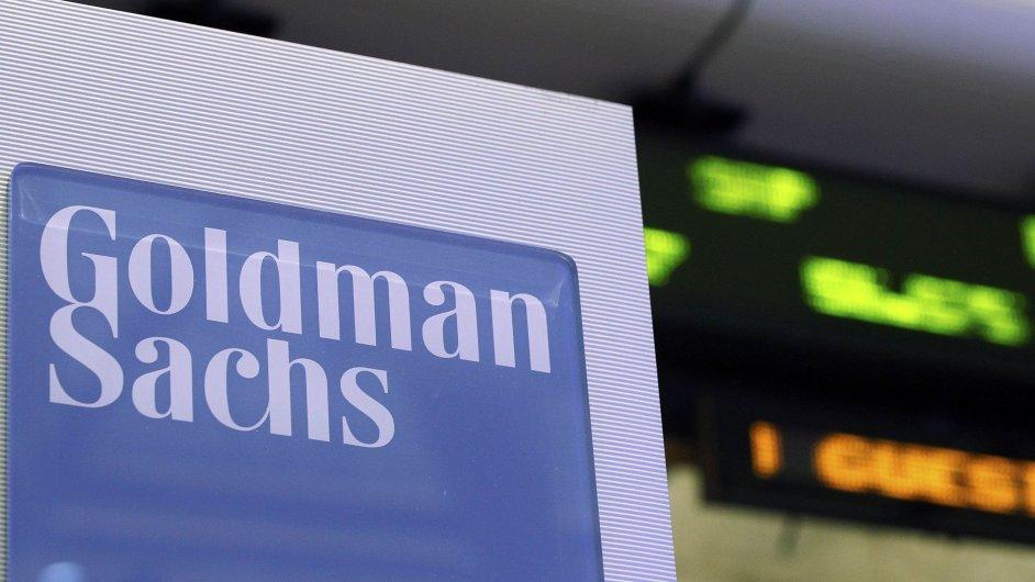 Logo Goldman Sachs na newyorské burze NYSE.