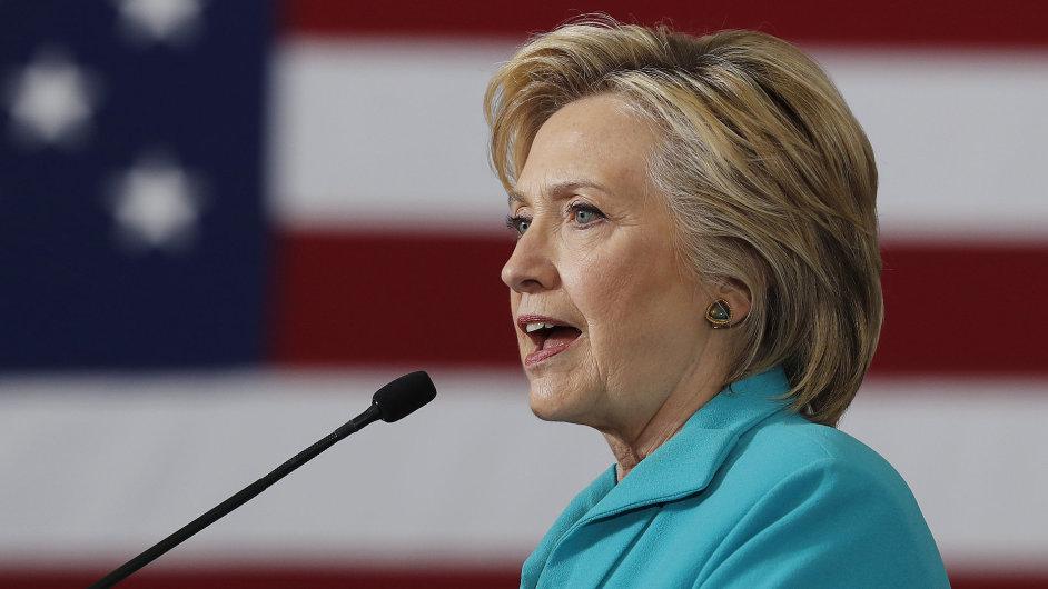 Demokratická prezidentská kandidátka Hillary Clintonová.