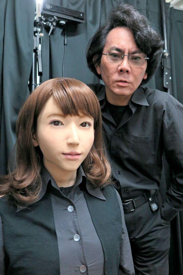 Professor Hiroshi Ishiguro from Osaka University with his android Erica in Osaka