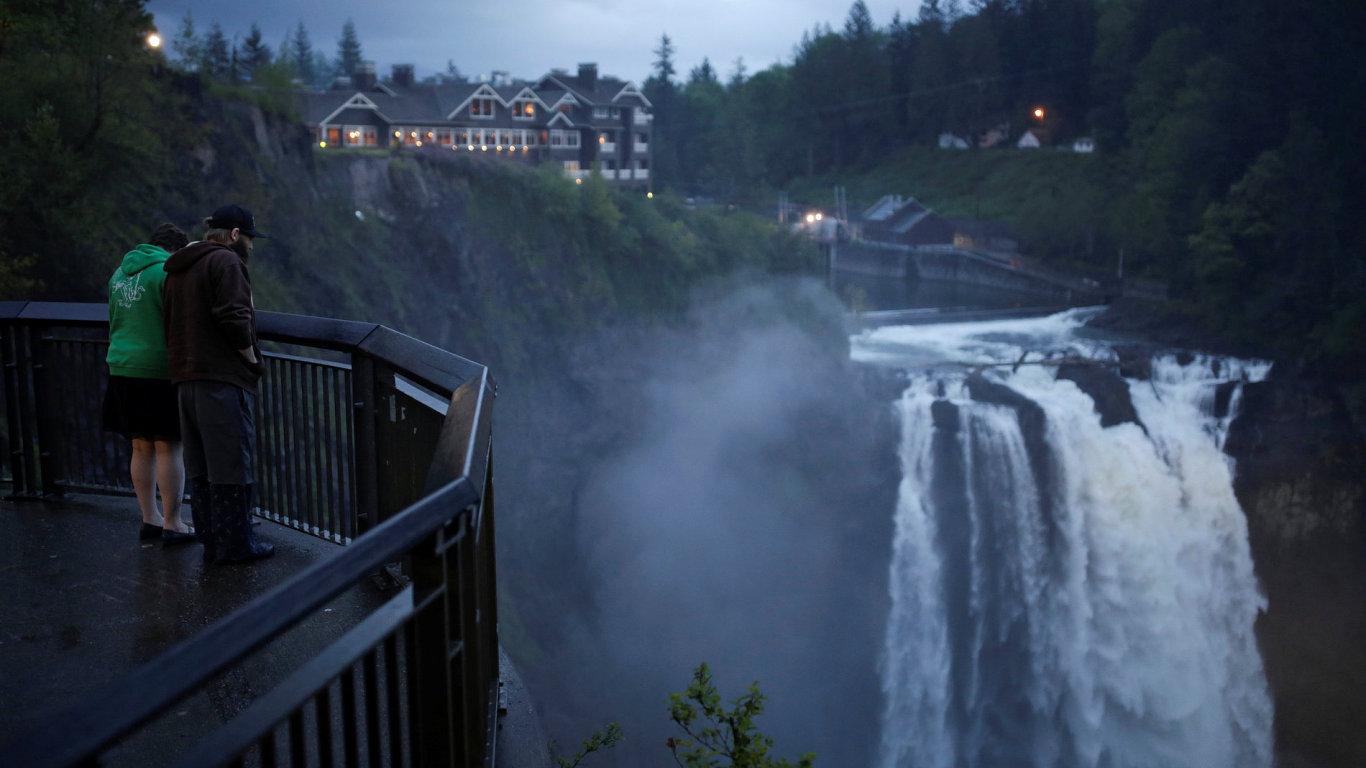 Snímek lokací, kde se natáčelo Městečko Twin Peaks.