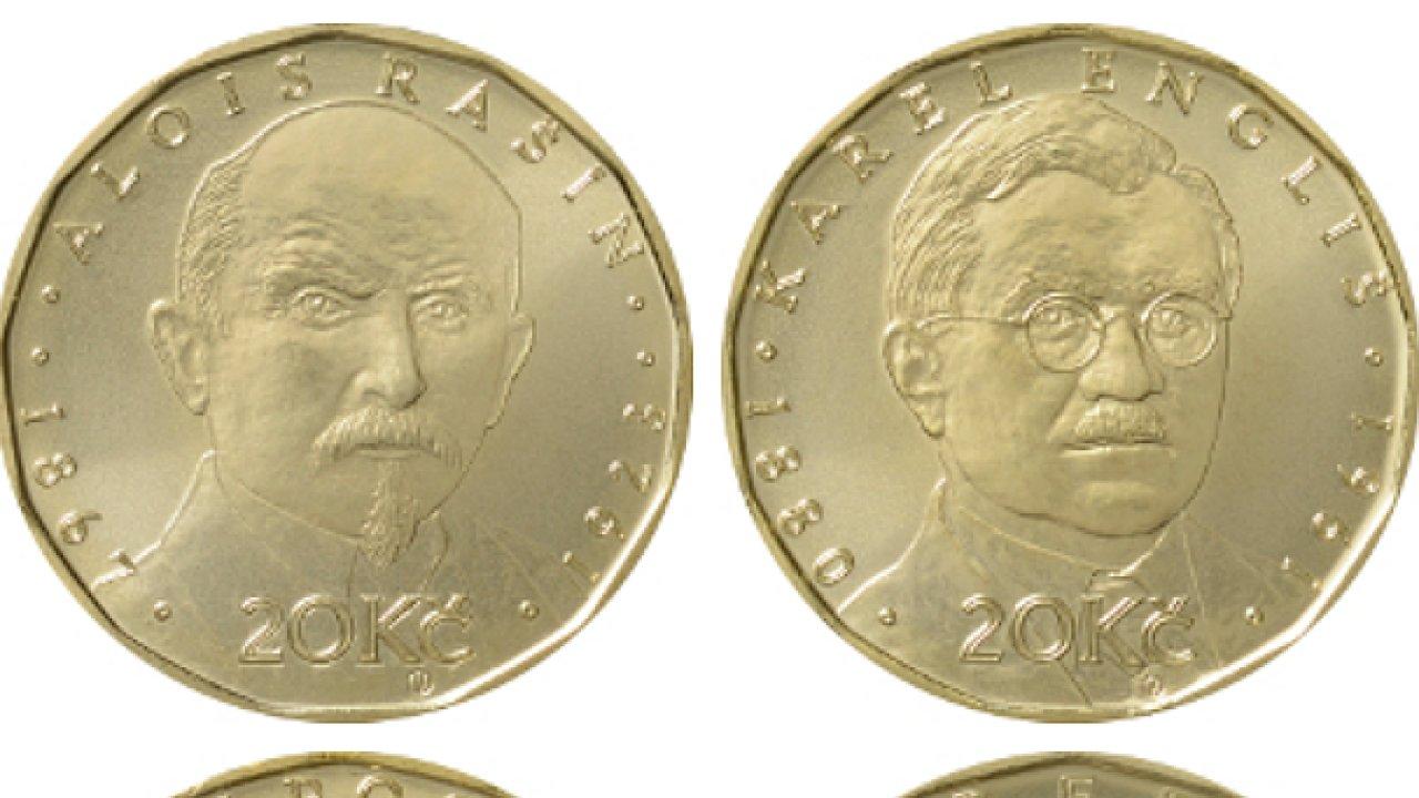 Na speciálních výročních mincích jsou vyobrazeni Alois Rašín, Karel Engliš a Vilém Pospíšil.