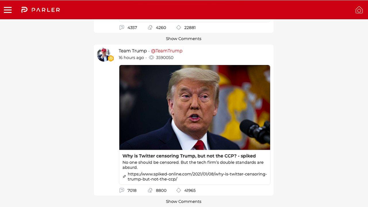 Příspěvek Donalda Trumpa na sociální síti Parler