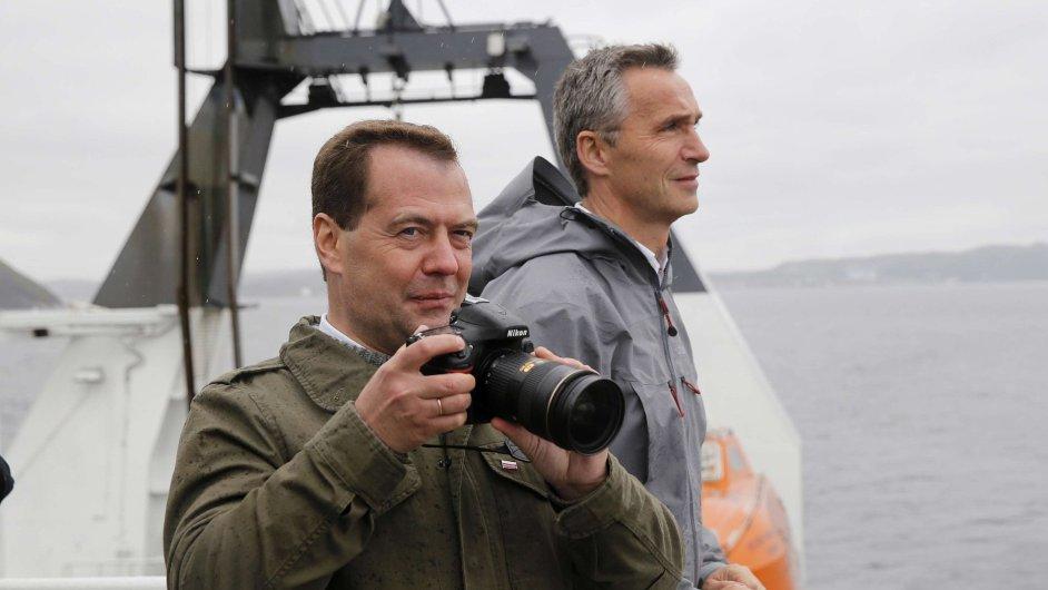 Dmitrij Medveděv na návštěvě Norska