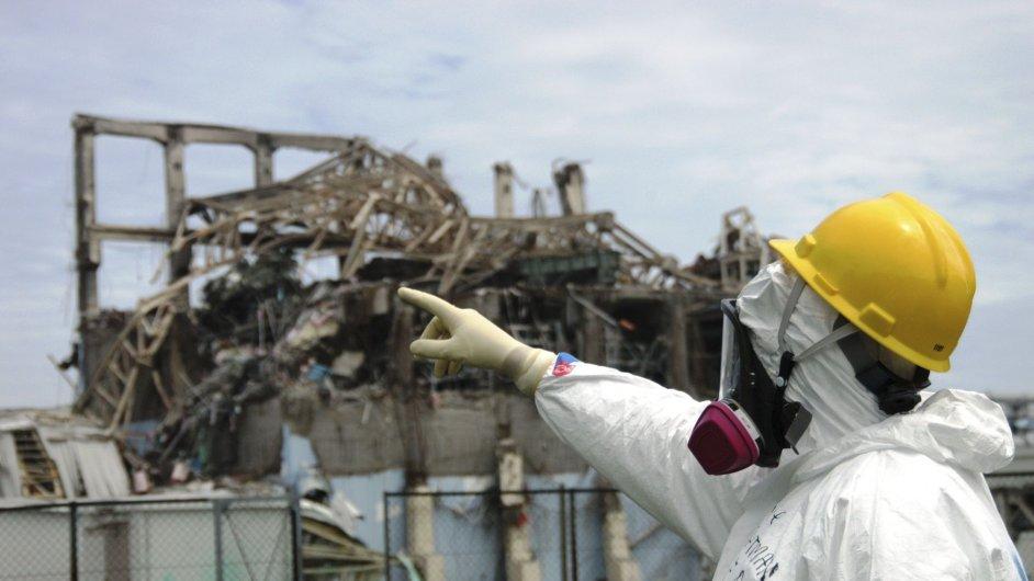 Poničená budova reaktoru číslo 3 fukušimské jaderné elektrárny