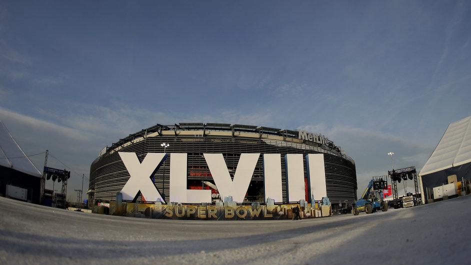 Stadion MetLife v New Yorku se chystá na Super Bowl.