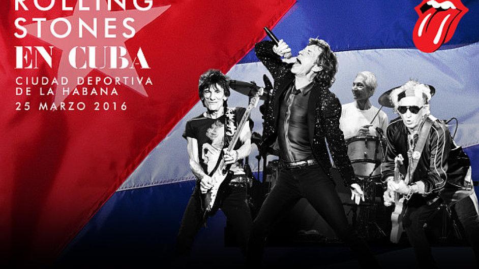 Plakát na chystané vystoupení Rolling Stones na Kubě.