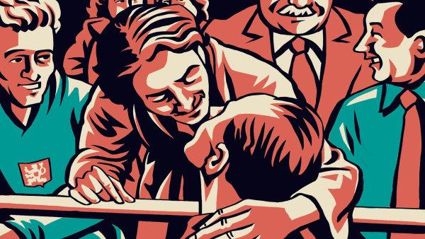 Komiks Jana Nováka a Jaromíra 99 vrcholí polibkem Dany a Emila Zátopkových uprostřed olympijského stadionu. - Ilustrační foto