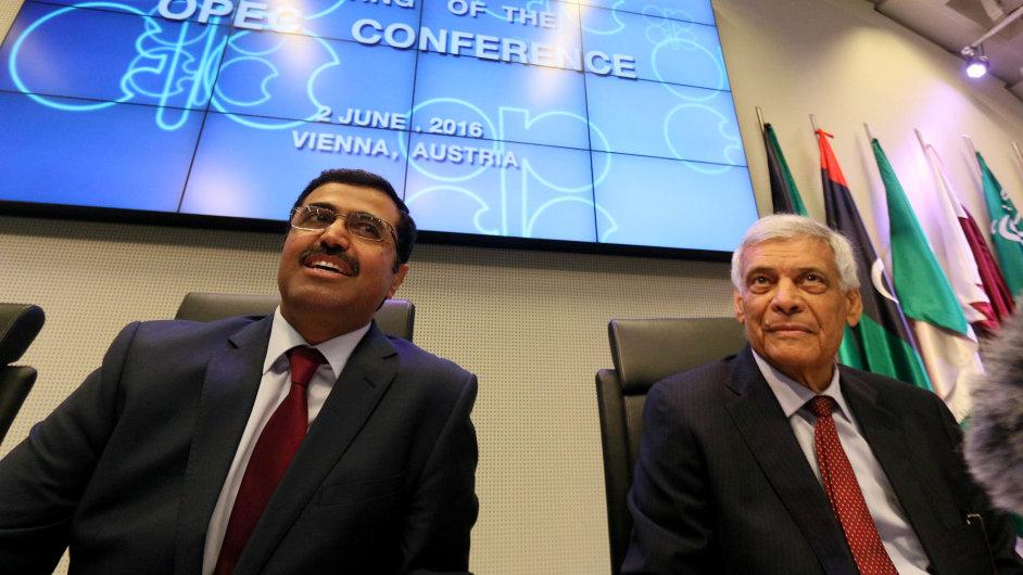 Katarský ministr energetiky Bin Saleh Al-Sada a generální tajemník OPEC Abdallah Salemal Badri na zasedání ropného kartelu ve Vídni.
