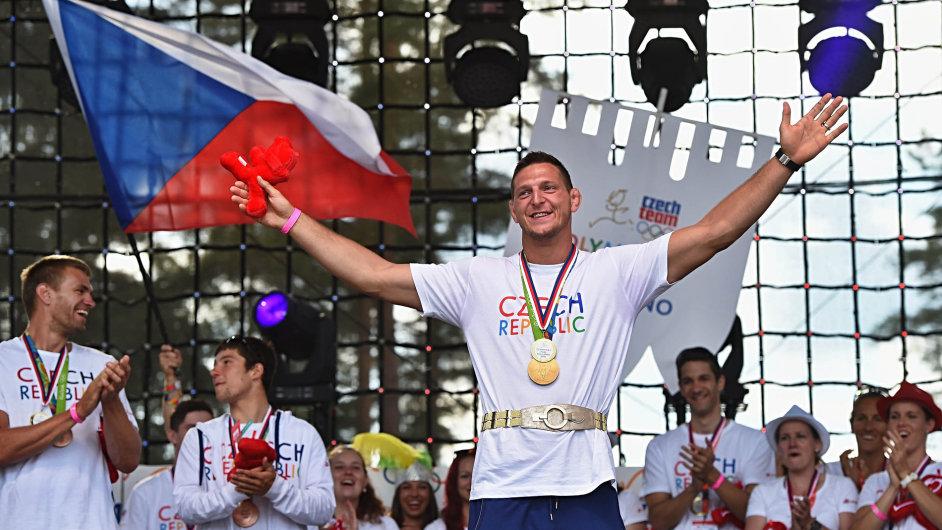 Čeští olympionici na Lipně: Vítězný Lukáš Krpálek po návratu z her v Riu de Janeiru navštívil olympijský park v Lipně nad Vltavou.