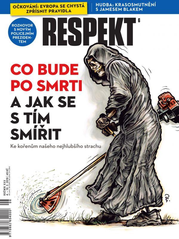 Obálka Respektu se smrťákem