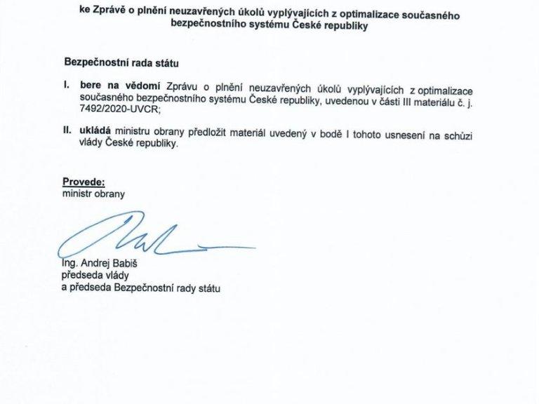Dokument z jednání Bezpečnostní rady státu z 2. března.