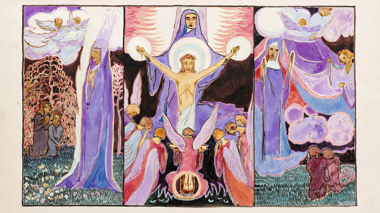 Josef Váchal: Triptych, asi 1910–1911, akvarel nakartonu, 26 x 43 cm