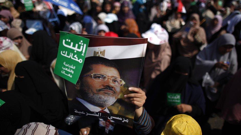 V centru Káhiry se sešli příznivci Muhammada Mursího.