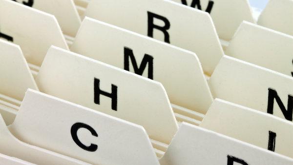 Rejstřík, abecední třídění dokumentů. Ilustrační foto