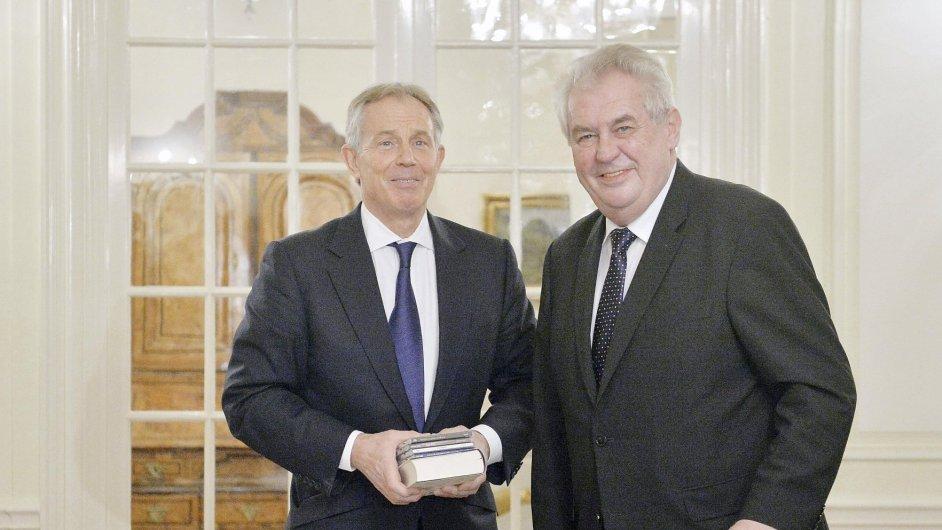 Prezident Miloš Zeman se v Lánech setkal s bývalým britským premiérem Tonym Blairem.