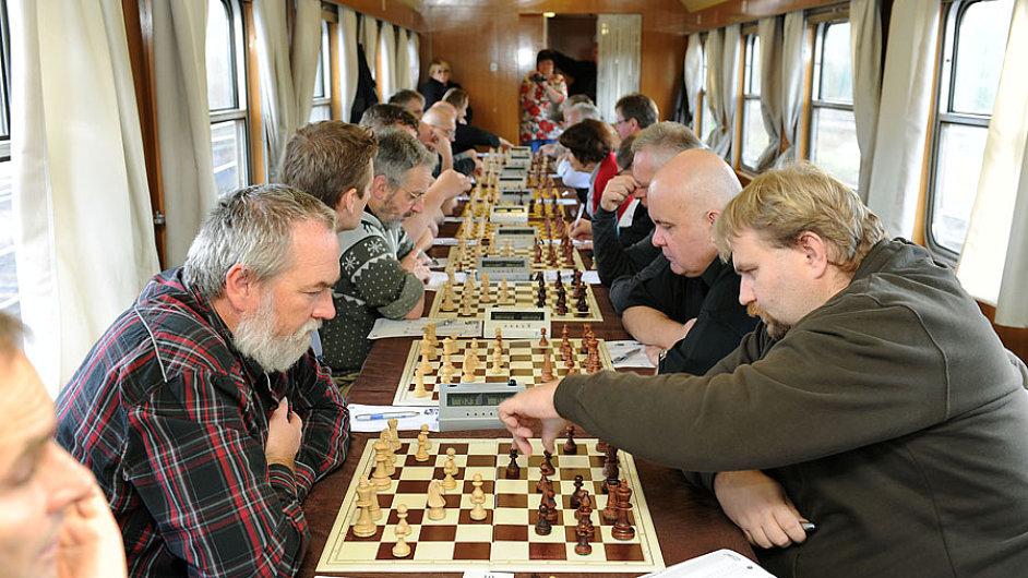 Šachový vlak na trase Praha - Vídeň v roce 2011.