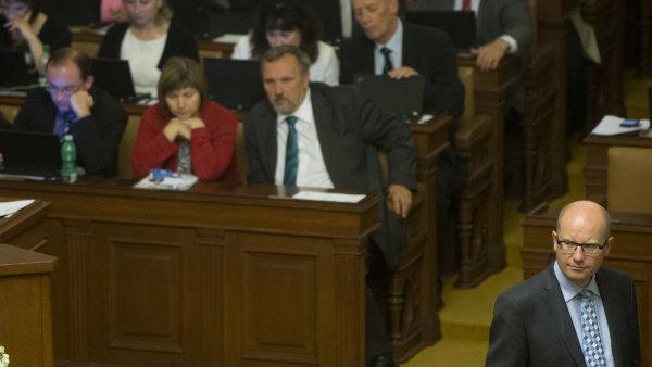 Premiér Bohuslav Sobotka (ČSSD) na jednání sněmovny.