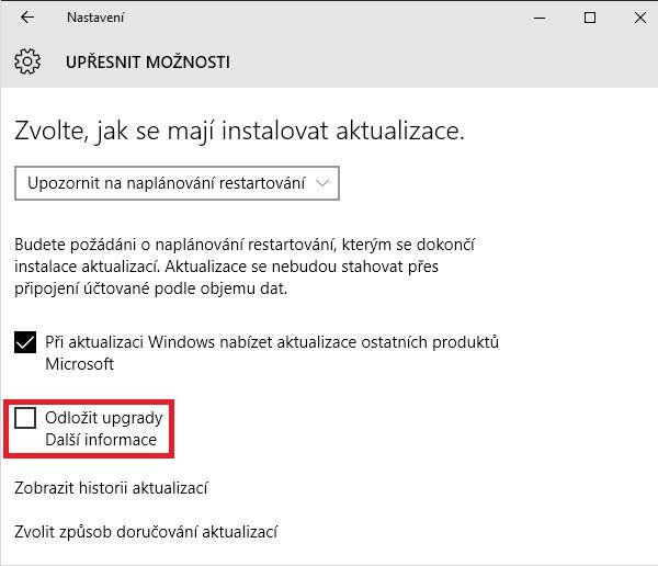 Aktualizace systému Windows 10