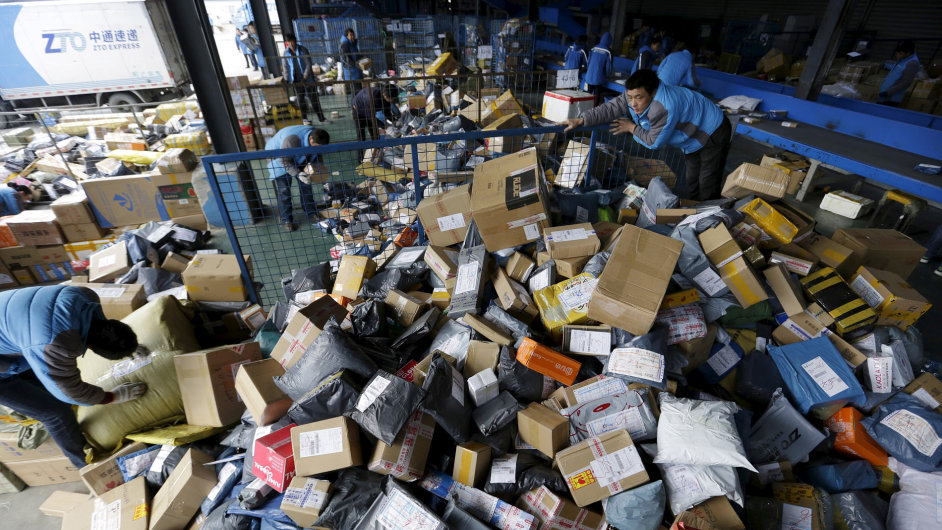 Employees work at a sorting centre of Zhongtong (ZTO) Express ahead of the Singles Day shopping festival
