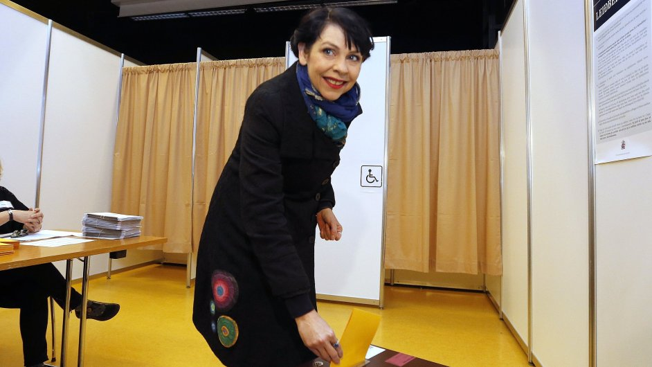 Birgitta Jonsdottir of the Pirate party (Pirater) casts her vote in a ballot box at a polling station in Reykjavik