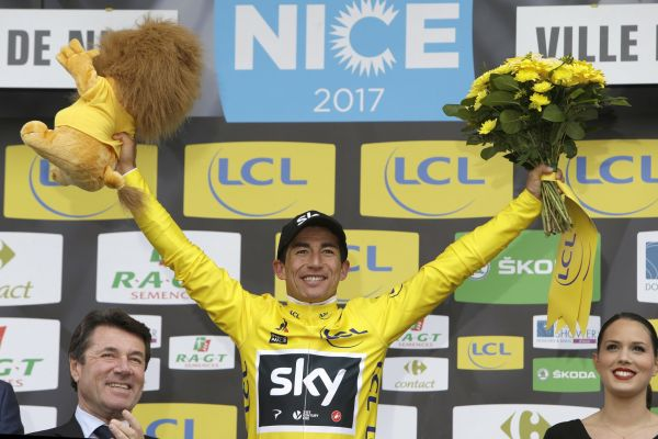 Winner of the Paris-Nice cycling raceSergio Henao Montoya of Colombia celebrates on the podium in Nice