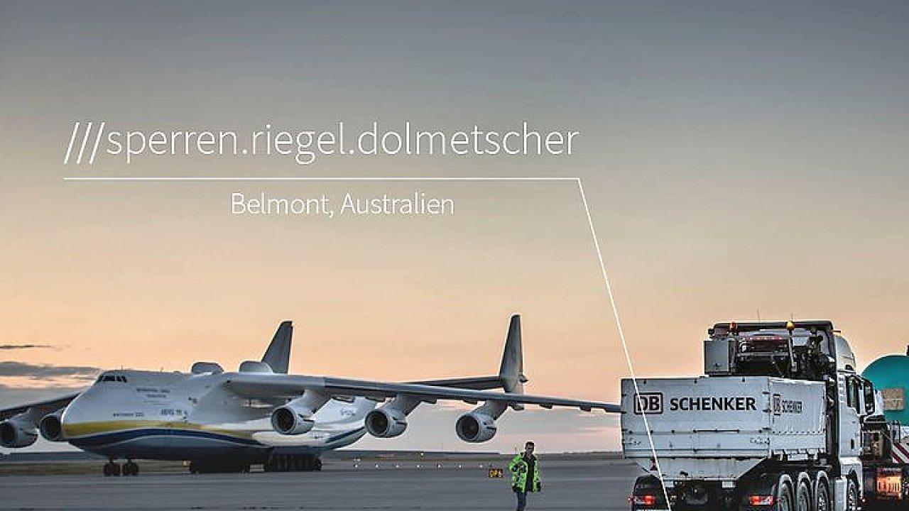 Využití technologie what3word - na obrázku německá lokalizace místa třemi slovy (sperren.riegel.dolmetscher) na letišti v australském Perthu.