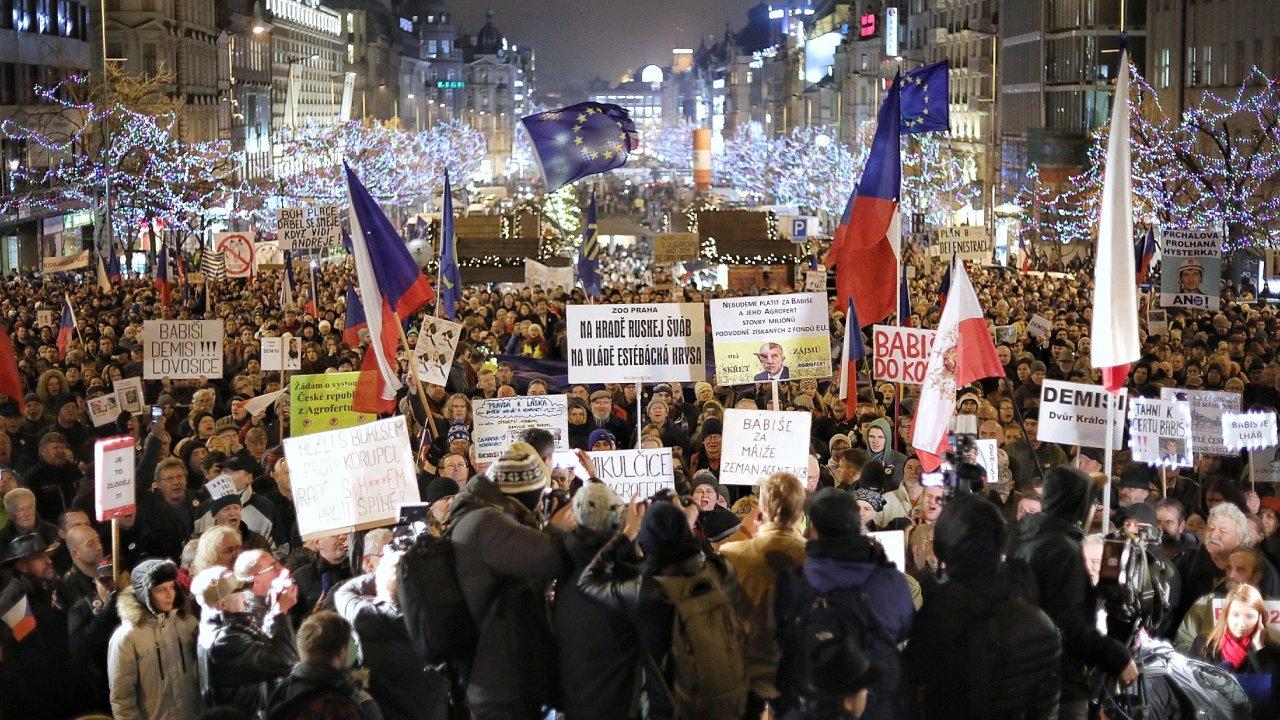 Milion chvilek, demonstrace, Babiš, Václavské náměstí
