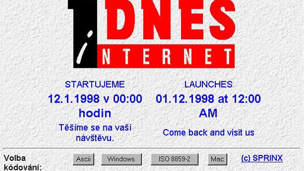Zpravodajský portál iDnes.cz byl spuštěn 12. ledna 1998 v pravé poledne
