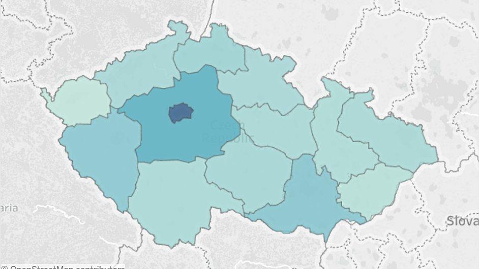 Mapa platů v Česku