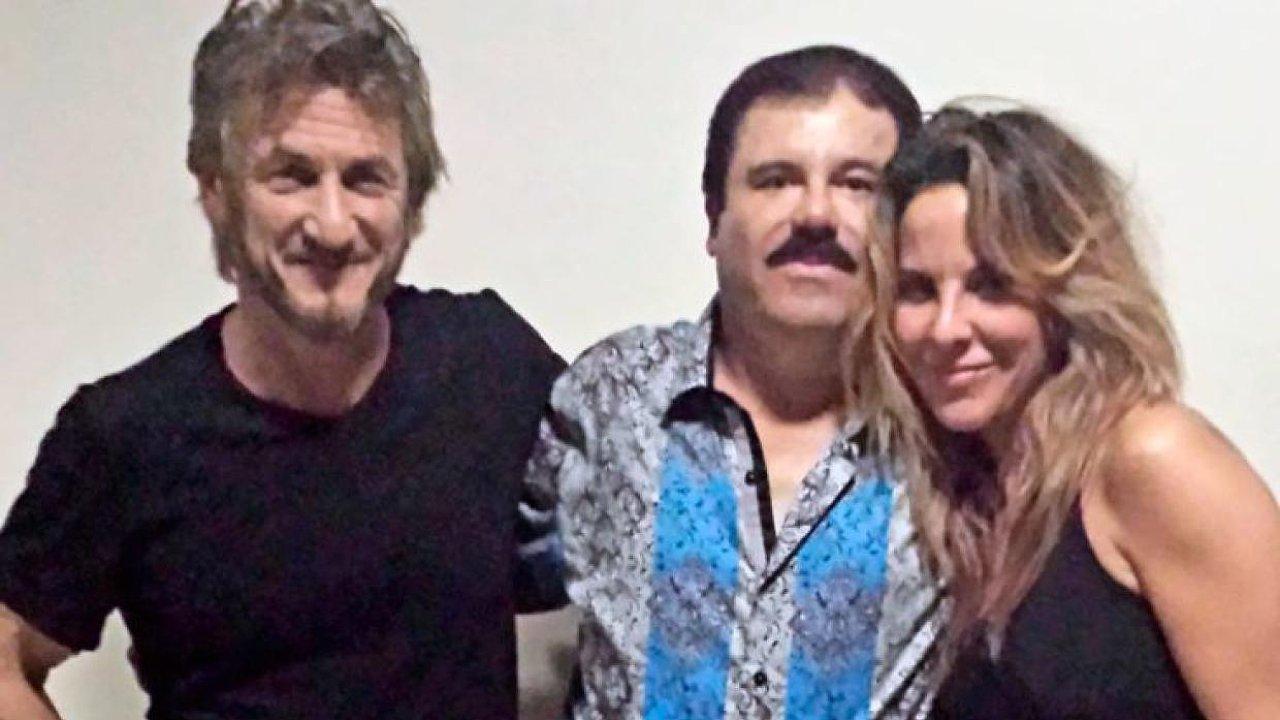 Na snímku jsou (zleva) herec Sean Penn, narkobaron Joaquín Guzmán a herečka Kate del Castillová.